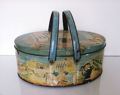 Tin Biscuit box USA c1950 Israel map/Proclamation of Independence/ Israeli life