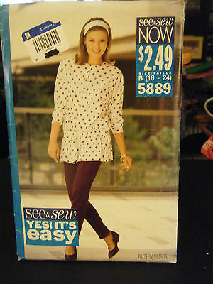 Butterick See & Sew 5889 Misses Drawstring Top & Pants Pattern - Size 16-24