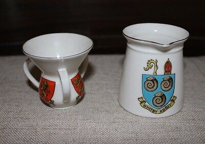 WH GOSS set Whitby Abbey Pitcher +William the Conqueror Henley on Thames Tyg cup