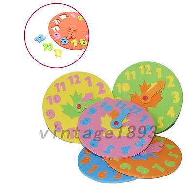 Foam Number Clock Time Puzzle Children Baby Kids Learning Development Toy