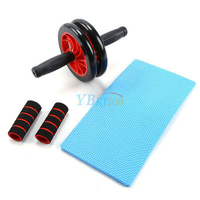 16CM Abdominal Waist Workout Exercise Gym Fitness Roller Wheels Knee Pad AU NEW