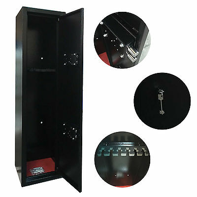Extra Large 6 Scoped Gun Cabinet Hunting Rifle Safe Shotgun Lock Police Approved