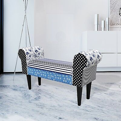 New Patchwork Sofa Bench Ottoman Seat Foot Stool Blue Chair Bedside Retro Couch