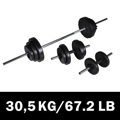New 3pc Dumbbell Barbell Weight Set 30.5kg Home Gym Fitness Exercise Adjustable