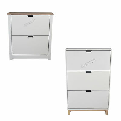 FoxHunter Wooden Shoe Storage Cabinet 2 3 Drawer Footwear Stand Rack Unit White
