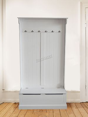 FoxHunter Wooden Shoe Storage Cabinet Bench With Coat Hook Stand Rack Unit White