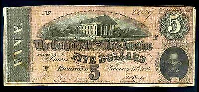 Confederate States, Five Dollars, 28229, Feb 17 1864, Good Fine.
