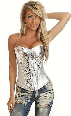 Ladies Silver/Grey Faux Leather Boned Corset & G String Bustier Lingerie 10-12