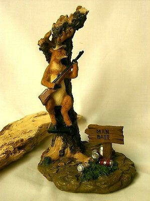 Comical Deer Hunter Man Bait Figurine Stone Resin  Home Decor NEW IN BOX