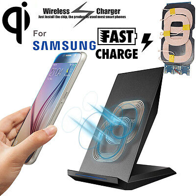2 Coils Qi Wireless Fast Charger Charging Dock Stand For iPhone Samsung HTC Lot