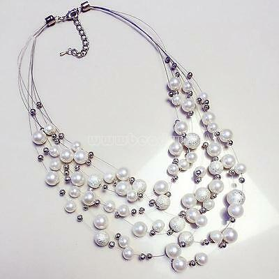 new Women Charm Chunky Crystal Statement Bib Pearl Chain Choker Pendant Necklace
