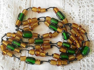 Lovely Very Long vintage 1960s Yellow & Green Venetian Glass Bead Necklace
