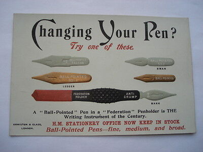 C1920S Vintage Ormiston&glass London Ball-Pointed Pen Nibs Advertising Card