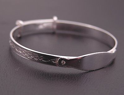 925 Sterling Silver Baby Children Personalised Christening Expanding Bangle New