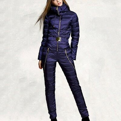 Hot Women Ski Suits Solid Color One Piece Down Coat Winter Snowboard Clothing
