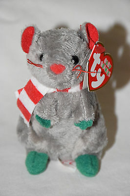 RARE 2011 TY Baby Beanies DICKENS Christmas Holiday Plush Mouse WITH MINT TAG