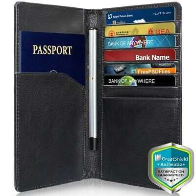 GreatShield RFID Blocking PU Leather 10 Slot Passport Holder Wallet Card Cover