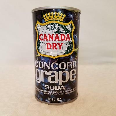 Canada Dry Concord Grape Soda Pop Can - Pull Tab, Top Opened, Steel - 18A