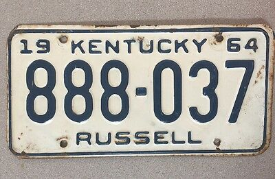 KENTUCKY- 1964- Triple 8's- License Plate. Plate # 888-037. Super Deal- Must See