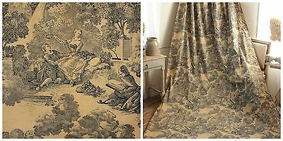 Vintage Toile de Jouy Curtain French c 1950's blue fabric material ( ONE OF SET)