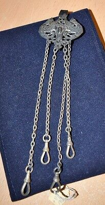 Amazing Antique Victorian Pocket Watch Fob 4 Chain Dragons