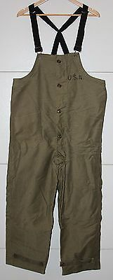 Original Wwii Us Navy, Usn Wool Lined Deck Overalls, 1943 Dated W/ Ship Stencil