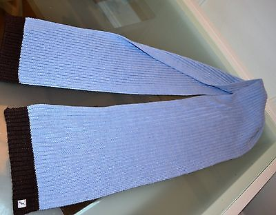 Jacadi Blue W Brown Trim  Knit Scarf One Size  New Boys 3 - 15 Years
