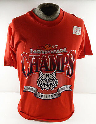 1997 Arizona Wildcats NCAA National Champions T-Shirt Large ^ New Old Stock