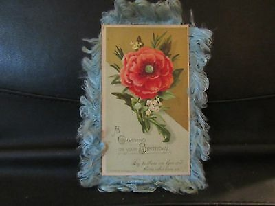 Antique Victorian Birthday Greeting Card Panel Card L Prang Boston 1882