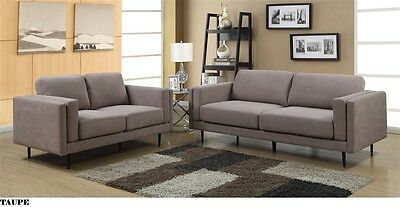 NEW Fabric Unica Couch Saorise 3 + 2 Seater Sofa Suite - Taupe
