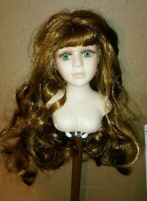 "Porcelain Doll Head w/Bust 5"" Tall  Long Golden Brown Hair Green Eyes"