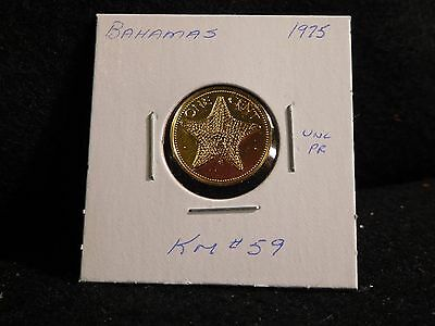 Bahama Islands:   1975   1 Cent   Coin  Proof   (Unc.)   (#2541)  Km # 59