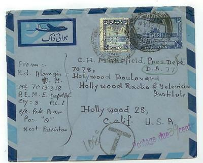 1952 Pakistan uprated Aerogramme to Hollywood California postage due - cover