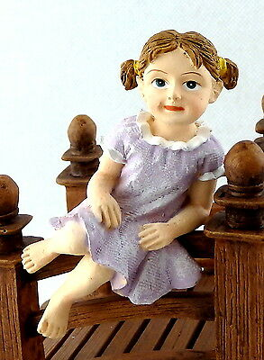 Dolls House Sitting Little Girl Lilac Dress Miniature People Resin Modern Figure