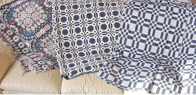 """HISTORIC ANTIQUE  COVERLET  """"CHOICE""""  TWO LEFT to choose from great blue colors"""