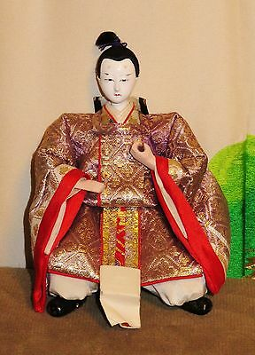 "Antique Pre-1920 Japanese Seated 5.5"" Male Attendant Hina Doll #AAD4161415.8"