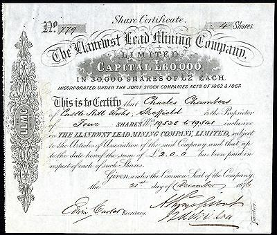 Llanrwst Lead Mining Co. Ltd., North Wales, £2 shares, 1876