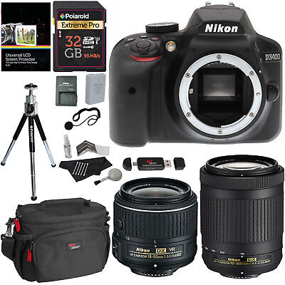 Nikon D3400 DSLR Camera 18-55mm Lens + AFP 70-300mm Lens Accessory Value Bundle