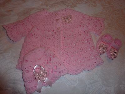 IN THE  PINK  CROCHET MATINEE SET FOR BABY GIRL OR REBORN DOLL new hand crafted