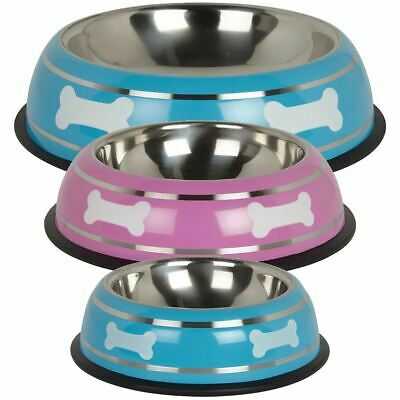 Stainless Steel Metal Non Slip Dog Puppy Pet Animal Feeding Food Water Bowl Dish