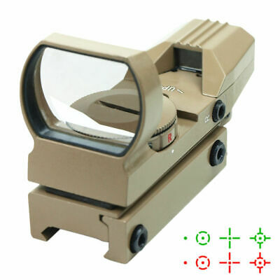 Tactical Reflex Holographic 4 Reticle Red Green Adjustable Dot Sight Rail Mount