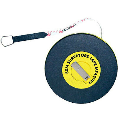 30M Surveyor Builders Fibreglass Measure Measuring Tape
