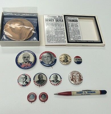 Harry S Truman Barkley FDR Political Pinbacks Paperweight Rare Collection