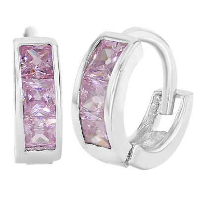 925 Sterling Silver Pink CZ Baby Hoop Earrings Toddler Infant Girl 0.39""
