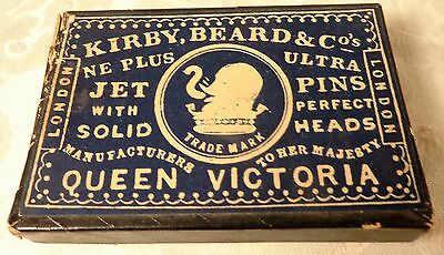 Antique Kirby Beard & Co Jet Sewing Pins Queen Victoria Trade Mark Box RARE PINS