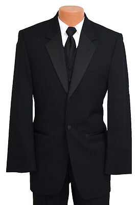 Mens Black Pinstripe Parisian Tuxedo Jacket & Pant Set Prom Wedding Tux Discount