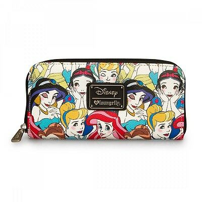 New LOUNGEFLY DISNEY Princess Wallet JASMINE ARIEL SNOW WHITE BELLE Faux Leather