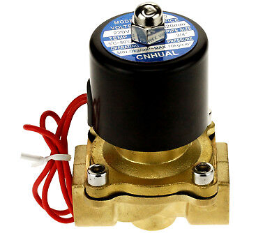 """3/4"""" Port 2 Way 2 Position Gas Air Water Electric Brass Solenoid Valve Ac220V"""