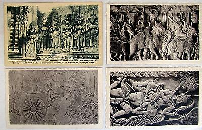 4 Vintage 1930s Cambodia Angkor Vat Temple Carvings RPPCs Real Photo Postcards