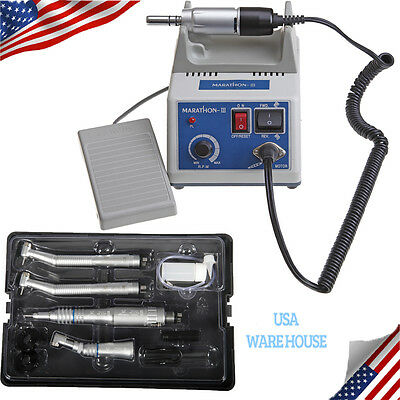 USA Dental Lab MARATHON Electric Micromotor 35K RPM + High Low Speed Handpieces